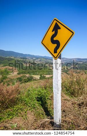 Traffic sign on Mountain view take form Chiang Rai thailand - stock photo