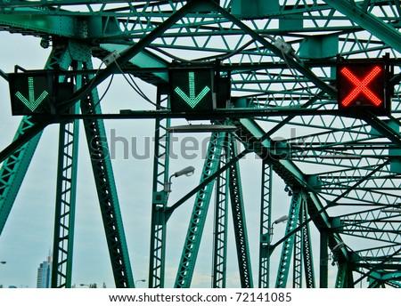 Traffic Sign on the Bridge - stock photo