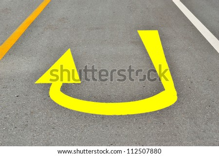 traffic sign on the road.,arrow sign on the way. - stock photo