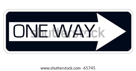 Traffic  sign. One way pointing to the right side