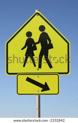 Traffic Sign - Pedestrian Crossing - stock photo