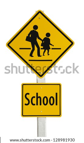 Traffic sign School warning sign isolated on white background - stock photo