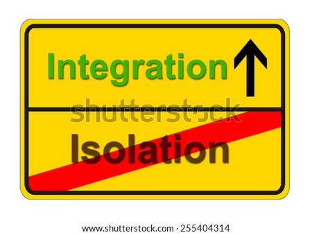 traffic sign shows the way from isolation to integration - stock photo