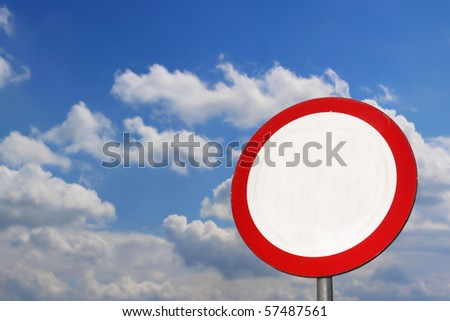 Traffic sign , sky on background - stock photo