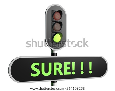 """Traffic sign with English text """"Sure"""" - stock photo"""