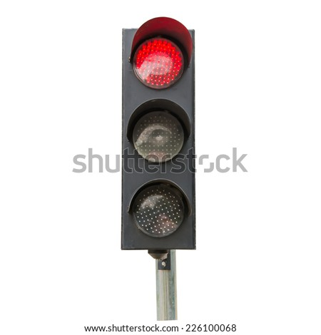 Traffic signals red isolated - stock photo