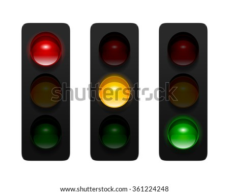 Traffic signals with three aspects isolated on white background. Traffic lights icon set for your design. - stock photo