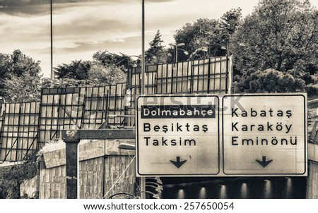 Traffic signs and directions, Istanbul. - stock photo