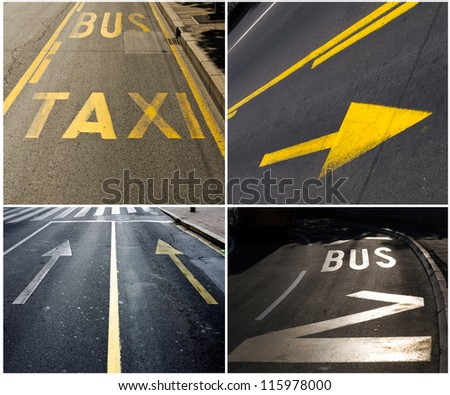 Traffic signs in collage - stock photo