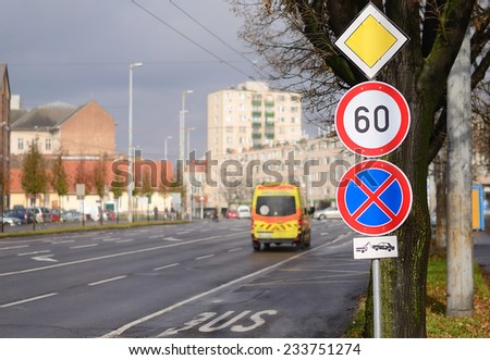 Traffic signs in the city. Traffic detail