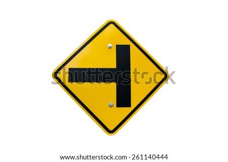 traffic Signs junction on a white background. - stock photo