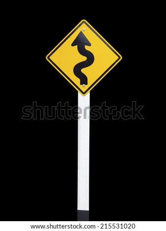 Traffic Signs on black background, Winding Road Sign - stock photo