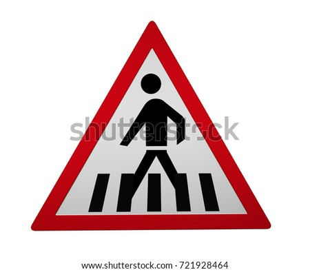 Traffic signs: Pedestrian crossing, 3d rendering isolated on white