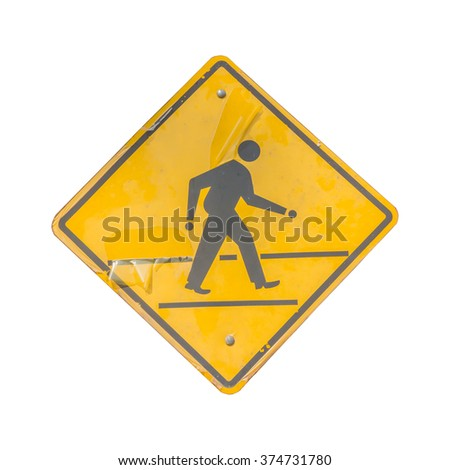 Traffic Signs : Pedestrian Crossing, with clipping path. - stock photo