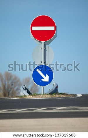 Traffic signs showing the right way - stock photo