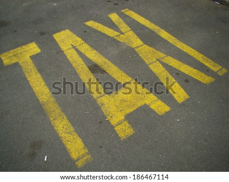 Traffic signs Taxi - stock photo