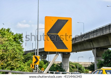 Traffic signs turn left On Expressway - stock photo