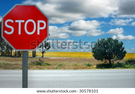 traffic stop signal on a meadow