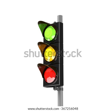 Traffic stoplight isolated on the white background. 3D traffic lights.