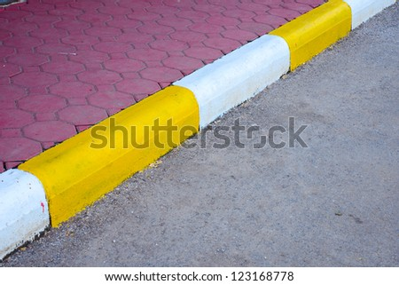 traffic surface have yellow line parking - stock photo