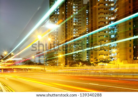 Traffic tail in a city with residential building