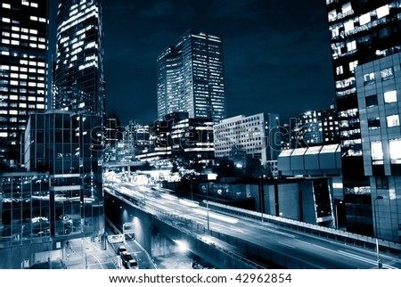 traffic through downtown in europe-2 - stock photo