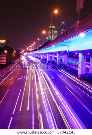 traffic through downtown Shanghai - stock photo