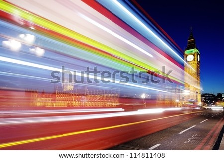Traffic through London (long exposure leading to trail of lights) - stock photo