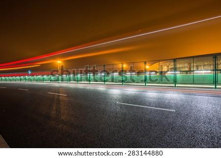 traffic through the shenzhen airport, china. - stock photo