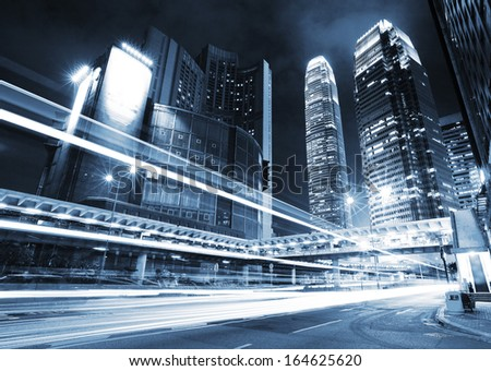 Traffic trail in Hong Kong at night