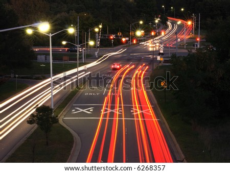 Traffic trails at rush hour