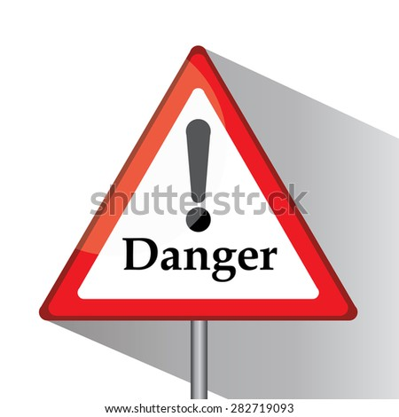 Traffic triangle shaped danger sign with post on white background