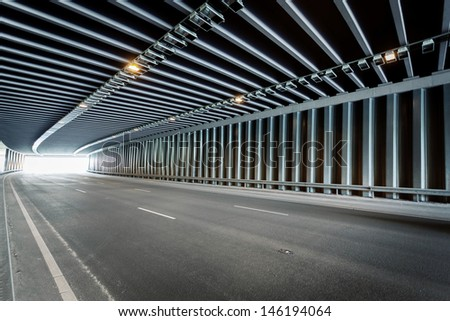 Traffic tunnel shot with wide angle - stock photo