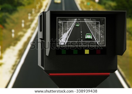 Traffic Vehicle Road Speed Control Recording Unit in Service 3D Image and Real Background Photo Composite - stock photo