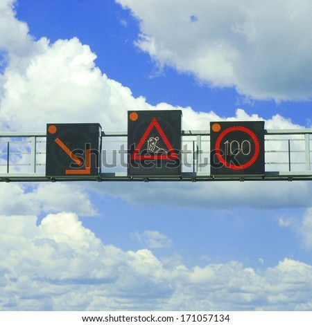 traffic warnings - stock photo
