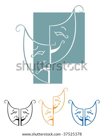 Tragedy and comedy masks illustration - stock photo