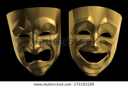 Tragicomic Theater Masks. Tragedy and comedy grotesque masks. 3D rendered image isolated on black background. - stock photo