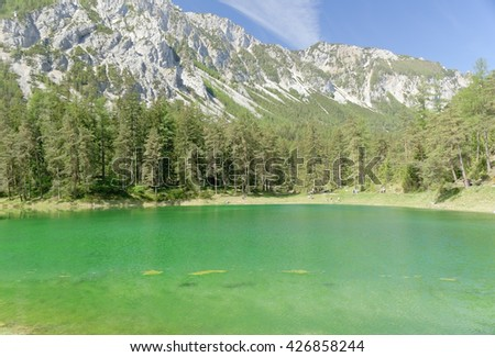 "Tragoess, AUSTRIA - 26 May 2016: In 2014 the lake ""Gruener See"" was chosen as the most beautiful hidden place in Austria by the TV-Station ORF."