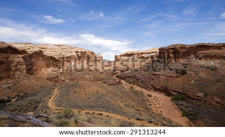 Trail for Horseshoe Canyon Great Gallery in Canyonlands NP Utah - stock photo
