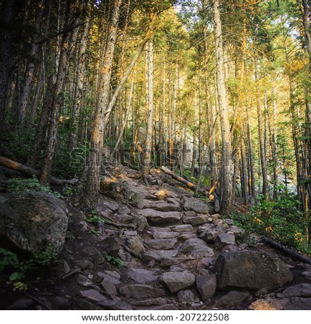 Trail in Boulder Colorado with Morning Light.  Note: Resubmitted, sized down. - stock photo