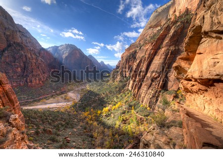 Trail leading to Angels Landing, in Zion National Park. - stock photo