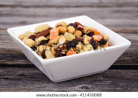 Trail Mix bowl with dried fruits and nuts - stock photo