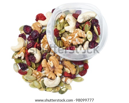 Trail mix container on white