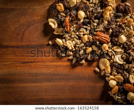 Trail Mix on Wood - stock photo