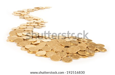 trail of gold coins on an isolated white background
