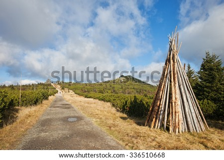 Trail on border of Poland and Czech Republic in Karkonosze Mountains with heap of logs left to dry.