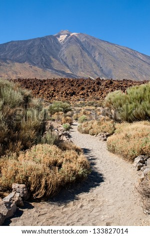 Trail on the Teide National Park with the Teide peak in the background, Tenerife, Canary Islands.