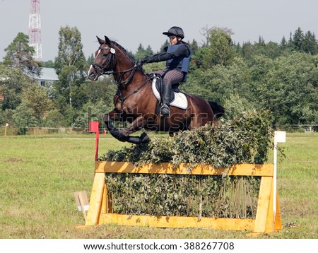 Trail rider girl jumping a horse over obstacle - stock photo