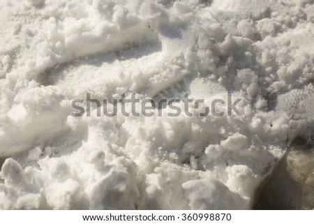 trail shoes on the snow - stock photo