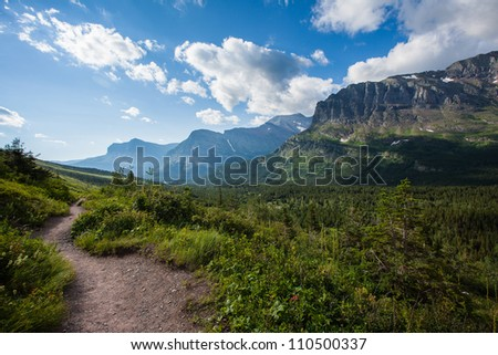 Trail to iceberg lake with mountain scene,  Glacier national park, Montana